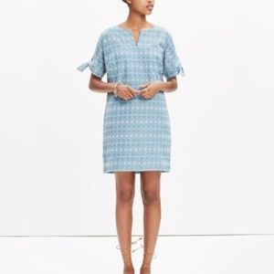 NWT MADEWELL Embroidered Tie Sleeve Shift Dress